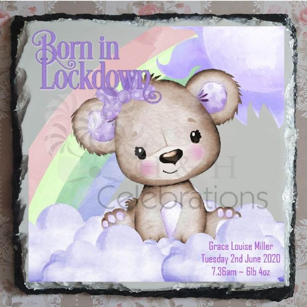 Born In Lockdown Rainbow Bear New Baby Girl Stats Rock Slate - Violet
